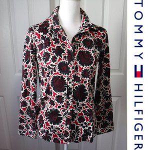 4/$20 Tommy HIlfiger Red Black Floral Shirt